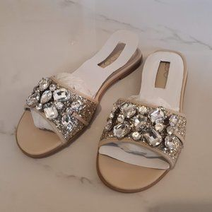 NWT Aldo Brodkin embellished nude sandals Size 6